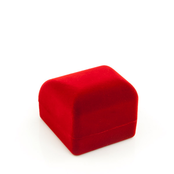 Small Flocked Red Earring Box Wholesale Engagement Ring