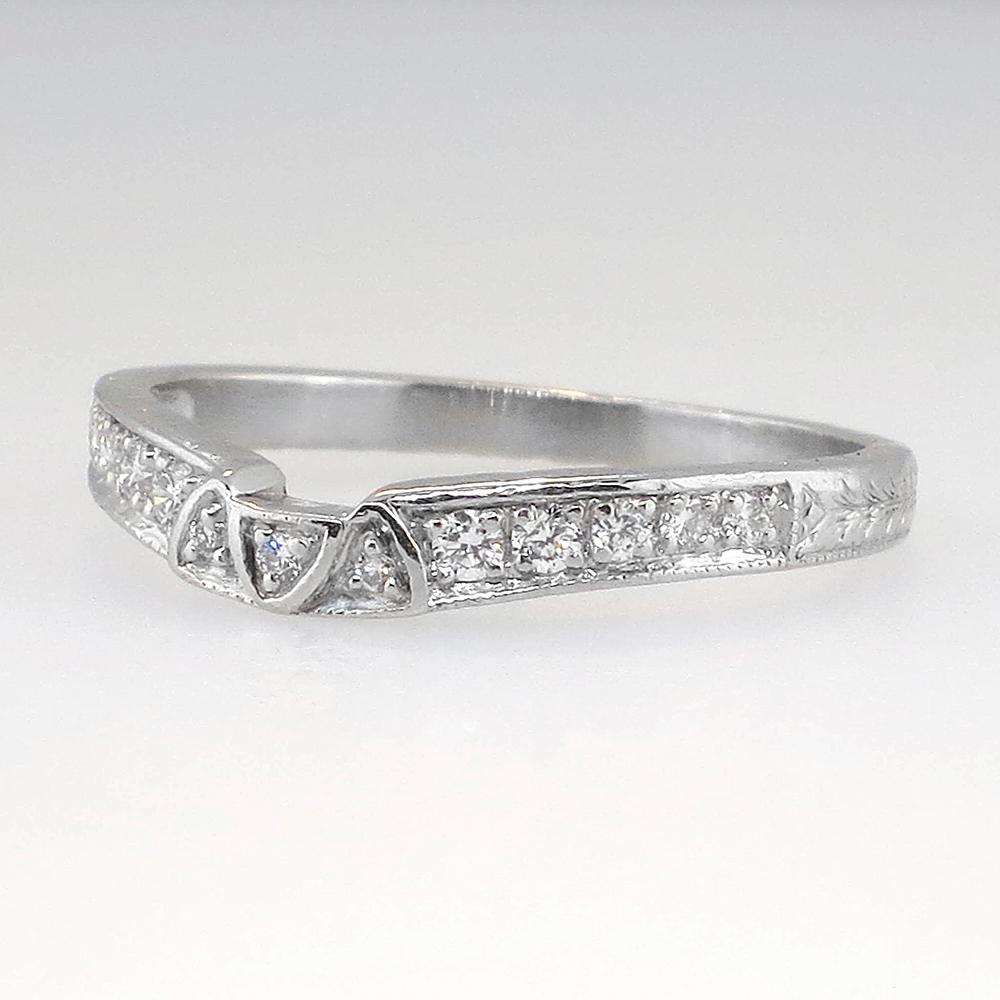 Estate Curved Diamond Platinum Engraved Wedding Band
