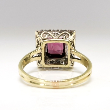 Vintage Emerald Cut Garnet Diamond Halo Engagement Ring