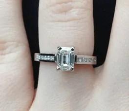 Emerald shape engagement ring