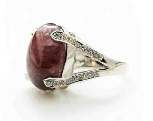 Garnet ring with silver band