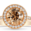 brown diamond on rose gold halo setting