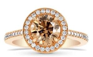 brown diamond on rose gold halo setting