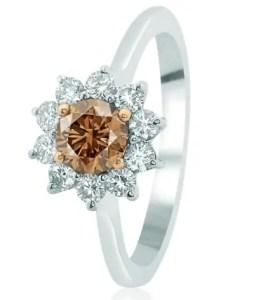 Brown diamond on white gold