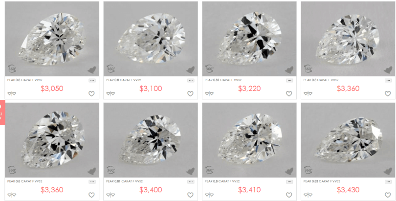 James Allen diamond pear cut listing