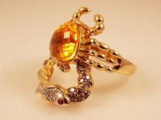 Yellow large gemstone cocktail ring