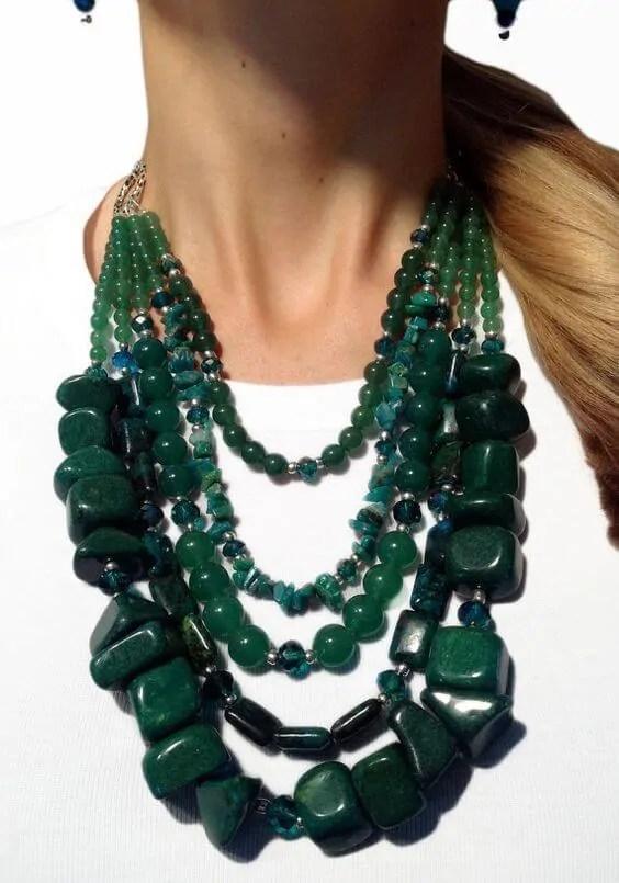 Green jade statement necklace