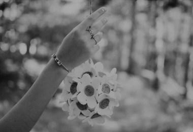 Sterling silver bracelet on womans hand
