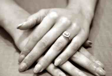 Engagement ring on woman hand