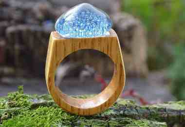 wood and glass engagement ring