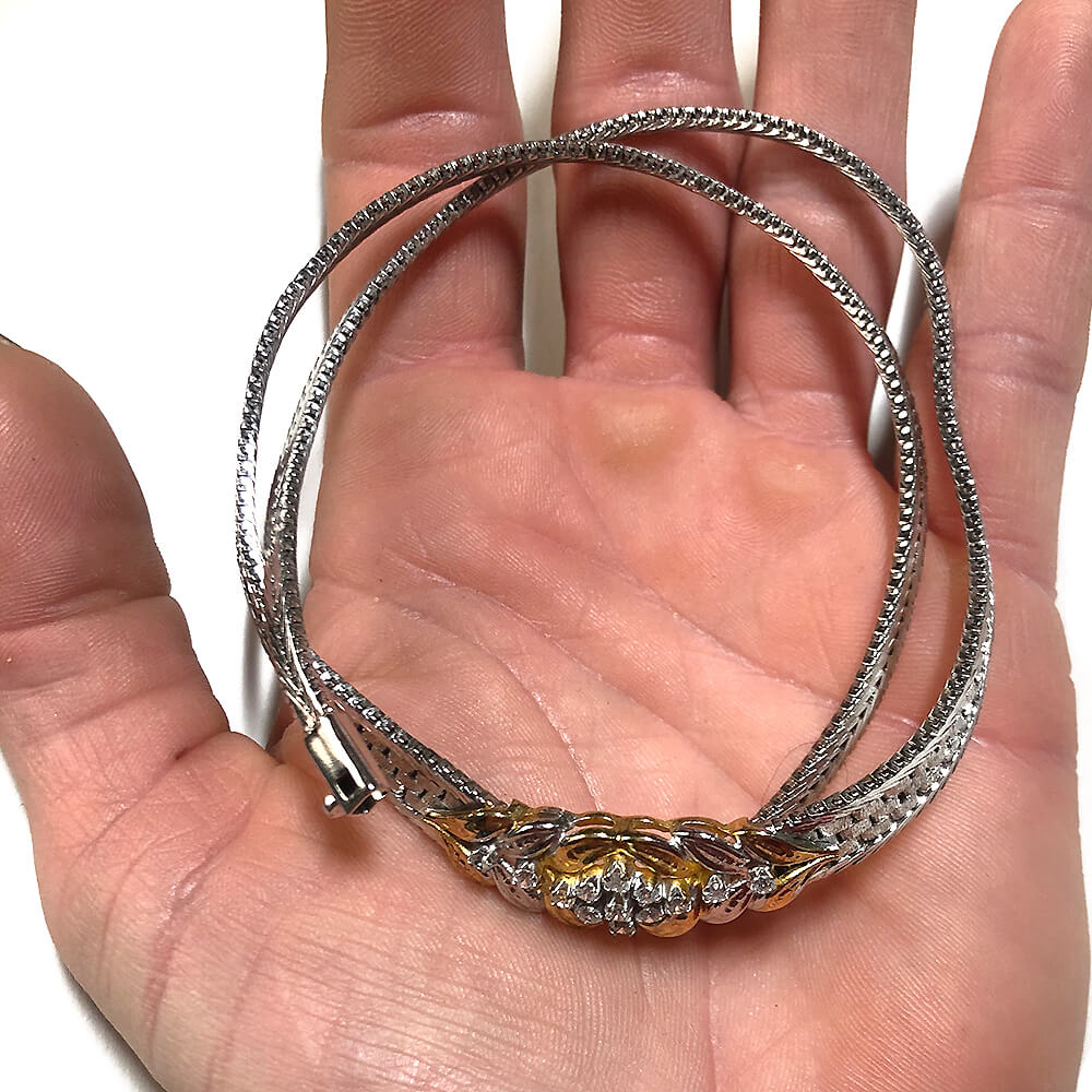 Traumhaftes Vintage Collier aus rhodiniertem bicolor Silber 925 mit weißen Zirkonia
