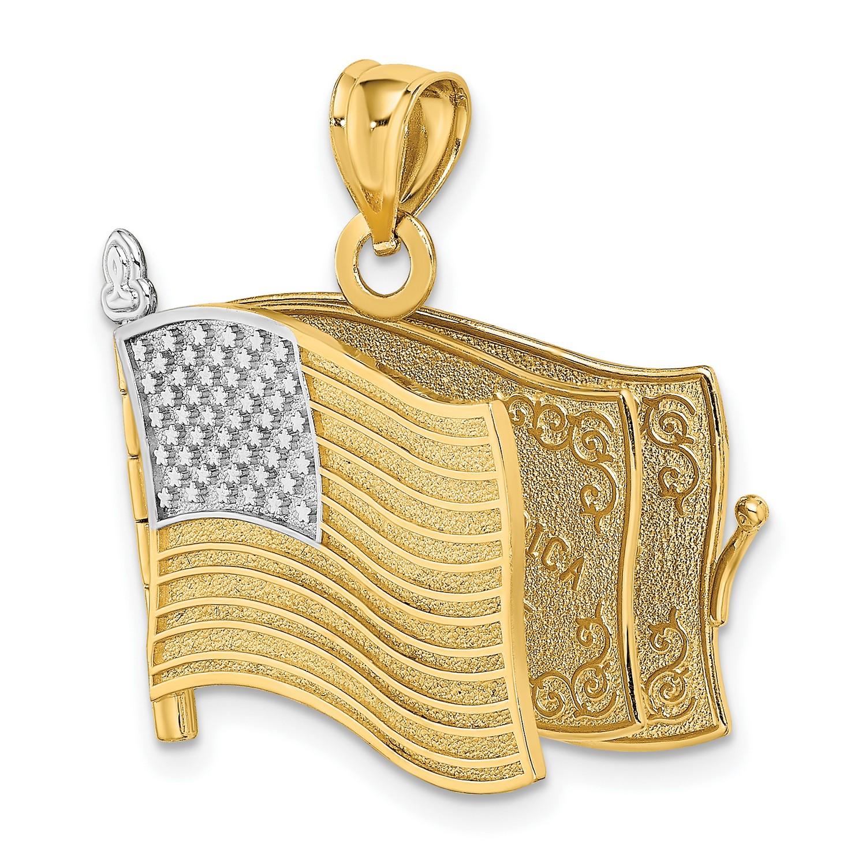 14k Yellow Gold Pledge Of Allegiance Words Flag Pendant