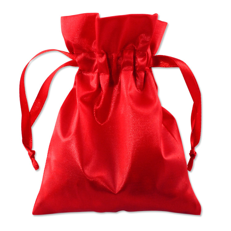 Red Color Satin Gift Bags And Drawstring Pouches