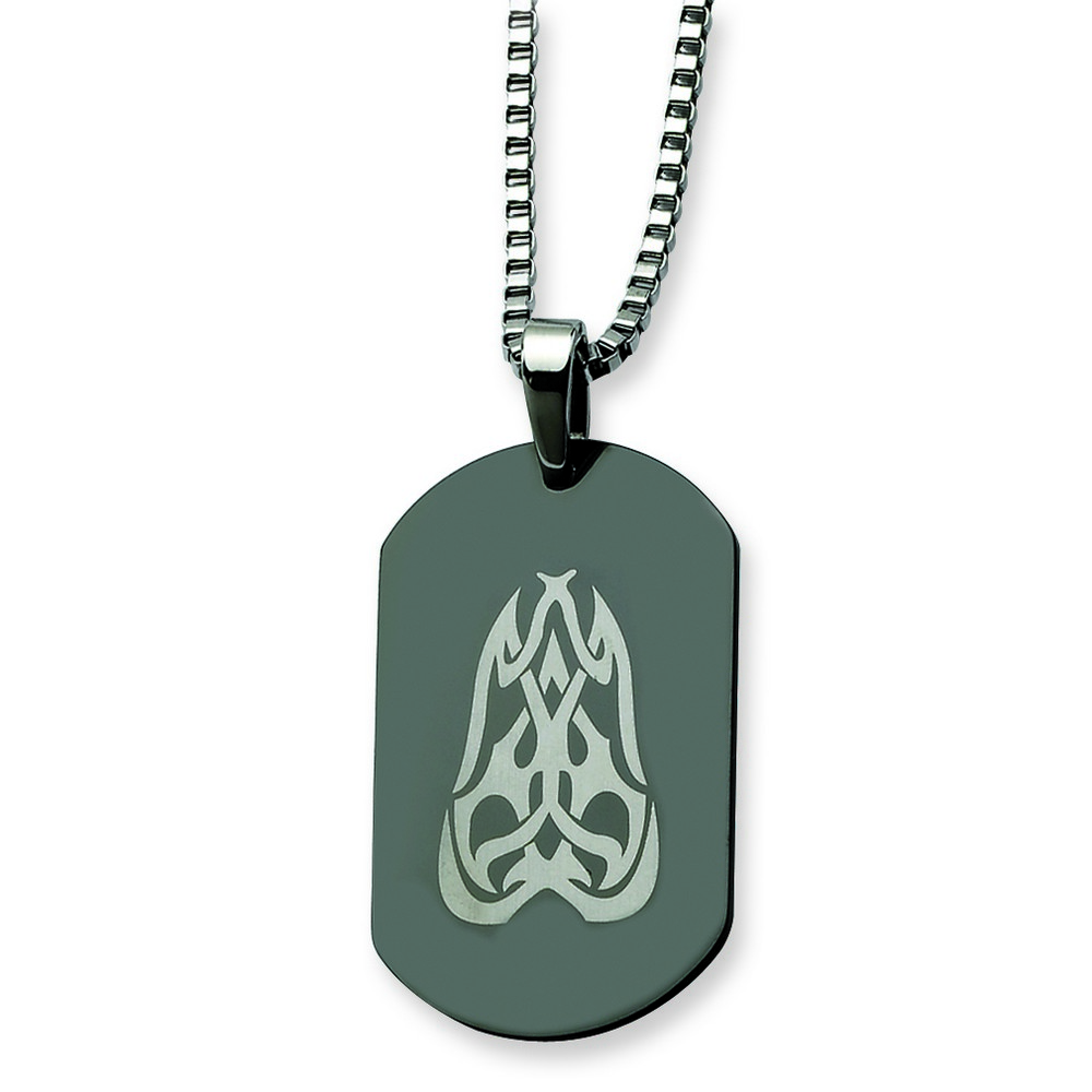 <br /> Stainless Steel Fancy Scroll Black Plated Dog Tag Necklace - 26 Inch<br />