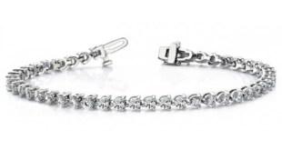 14k White Gold Straight-Line martini Diamond Bracelet