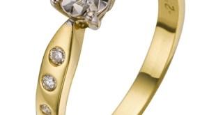 18 Carat Yellow Gold Diamond Illusion Set Engagement Ring