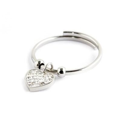 anello acciaio cuore pendente