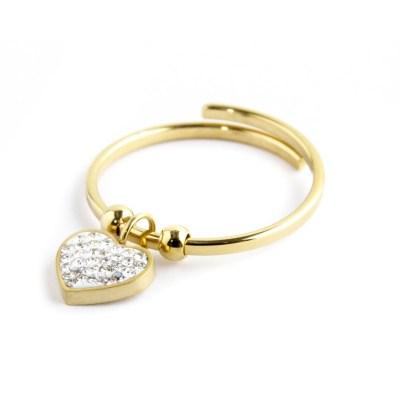 anello cuore strass pendente marlù
