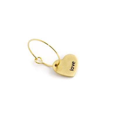 Mono orecchino a cerchio cuore love pvd oro