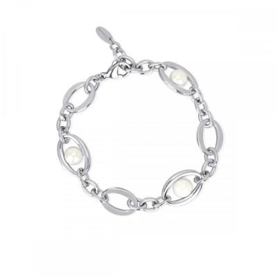 bracciale acciaio perle