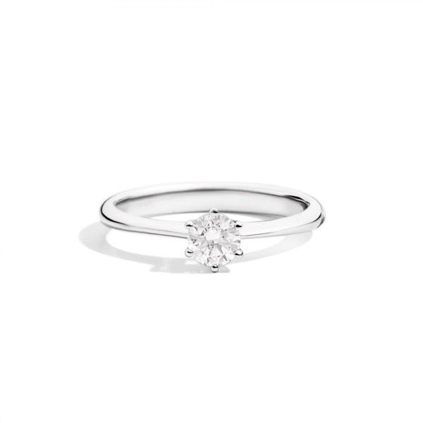 Anello solitario ReCarlo, collezione Sofia in oro bianco 18kt e diamanti taglio brillante da 0.27ct, misura disponibile 14