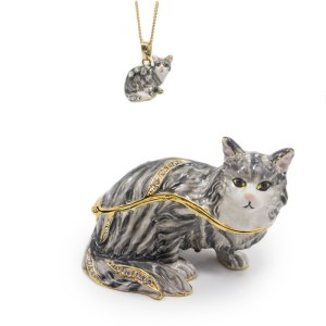 The Cutest Cat Grey Striped Trinket Box