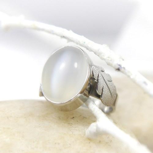 Cat's Eye Moonstone Bezel Set Ring