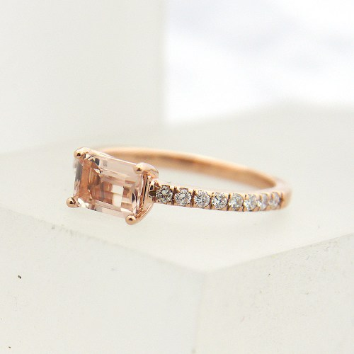 Emerald Cut Morganite and Diamond Ring in 14k Rose Gold