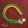 Pompom Rhinestone boho Friendship bracelet