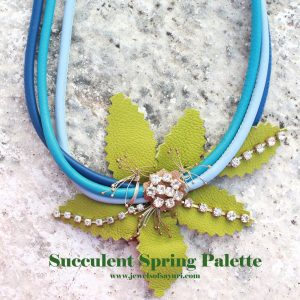succulent green leather necklace