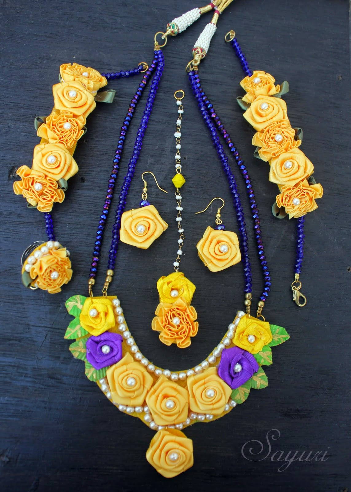 Ribbon Flower Jewelry For Haldi Function Jewels Of Sayuri