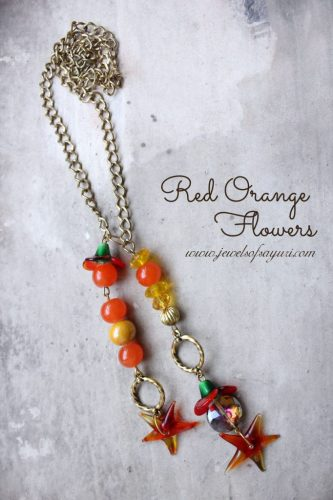 Red Orange Flowers necklace