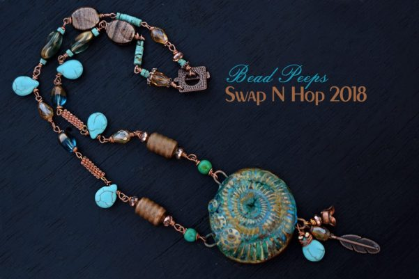 Turquoise and Copper Necklace Bead Peeps Swap N hop 2018