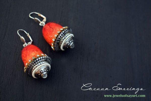 DIY Silk Cocoon earrings by Sayuri