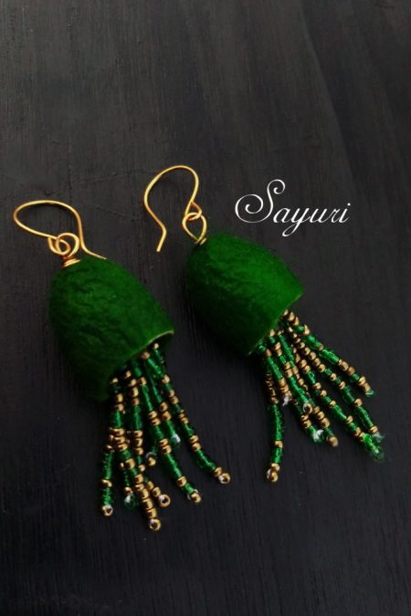 green Tropical Jellyfish earrings