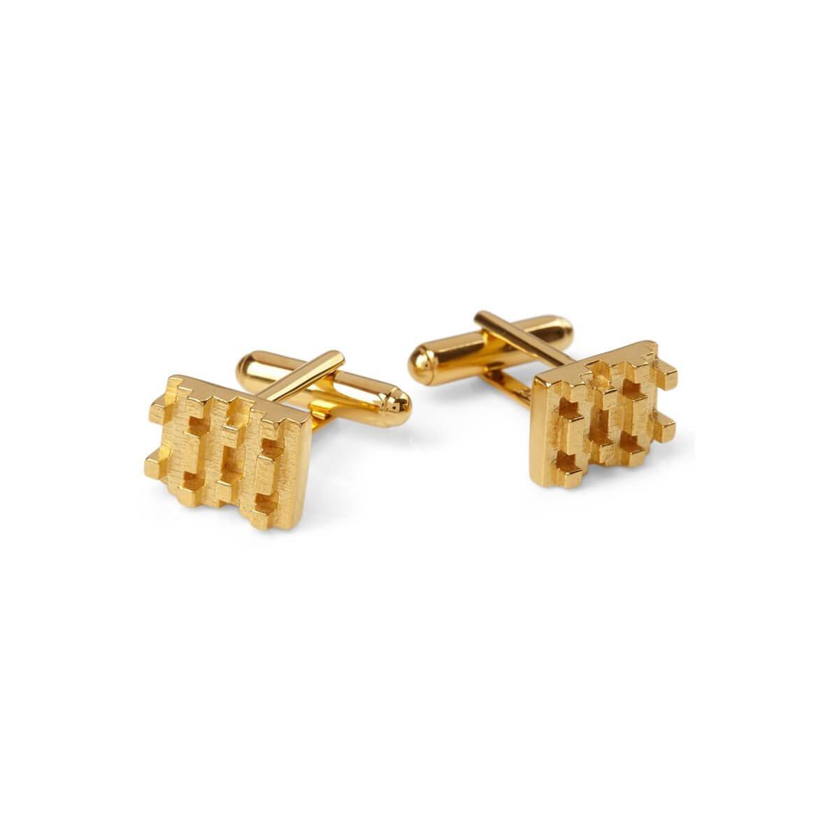 Hive lego cufflinks 18ct Gold Vermeil