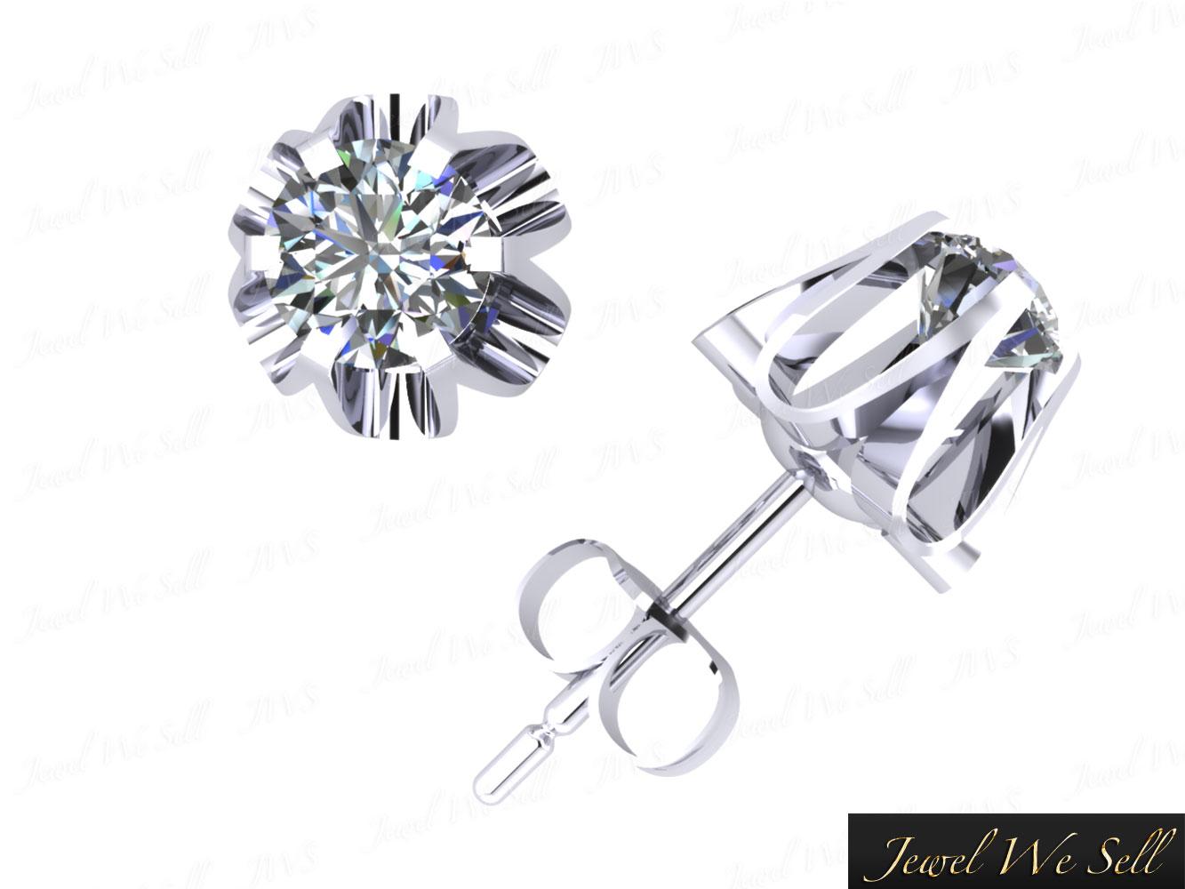 0 75ct Round Cut Diamond Buttercup Stud Earrings 14k White