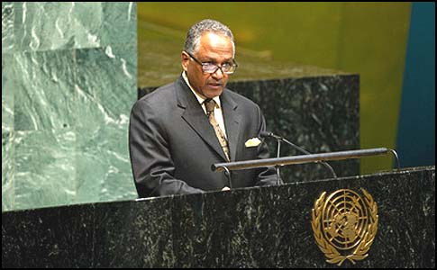Amb. Daffa-Alla Elhag Ali Osman, representing the genocidal country of Sudan, whose ruler is wanted for crimes against humanity by the International Criminal Court, presented the UN resolution upgrading the PLO status on behalf of the Arab group.