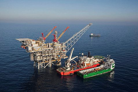 An aeriel view of the Israeli gas rig 'Tamar' situated about 80 km off the Israeli northern coast