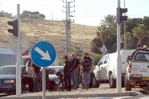 On the main road near Mishor Adumim after a terror attack on May 11, 2015.
