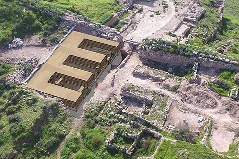 A computerized image of the Lachish city gate. Photo credit: Architects Ram Shoaf and Hila Berger-Onn, Israel Antiquities Authority Conservation Department.
