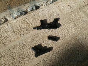 Armas usadas en el ataque al terrorismo en el Monte del Templo.  14 de julio de 2017