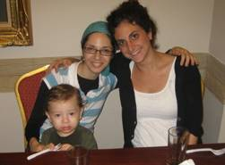 "Rivky Holtzberg z""l, Hillary Lewin (R), and 2 year old Moshe - who was saved by the nanny."