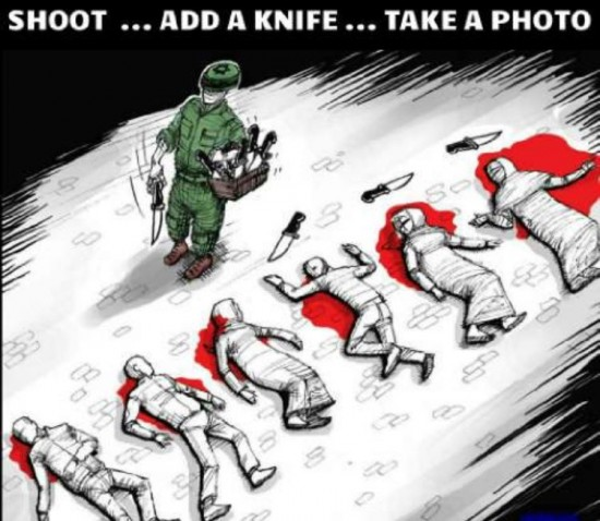 israel jews now plant knives after the kill palestinians..