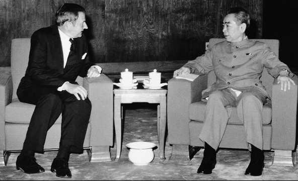 David Rockefeller and high ranking Chinese Communist leader Zhou Enlai in 1973