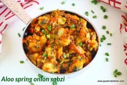 Aloo spring onion bhaji