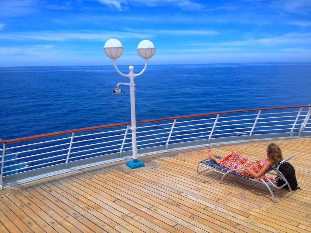 Relaxing on the back deck of the ship.