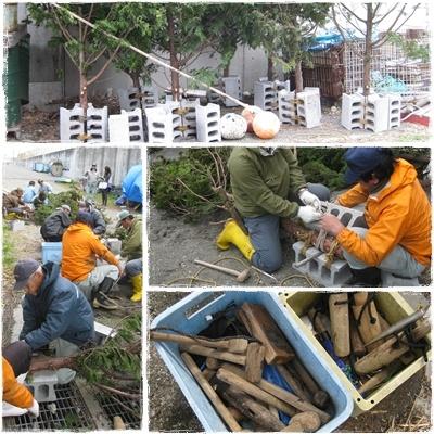 2012.3.19間伐材を使った漁礁作製中