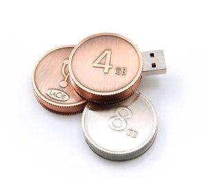 Memoria USB tamaño moneda