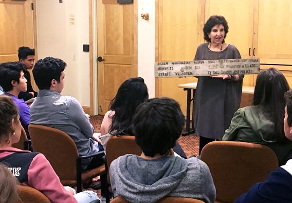 Anita addressing youths